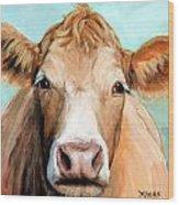 Guernsey Cream Cow On Light Green Wood Print