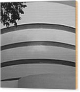 Guggenheim In The Round In Black And White Wood Print