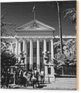 guided tour group outside the former national congress building Santiago Chile Wood Print