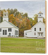 Guildhall Village Historic District In Autumn Vermont Wood Print