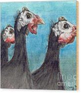 Guinea Hen Rooster Trio Farm Ranch Animal Art Wood Print