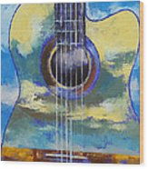 Guitar And Clouds Wood Print