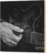 Guitar And Hand Bw Wood Print