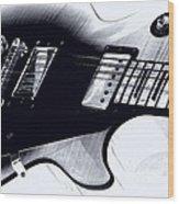 Guitar - Black And White Wood Print