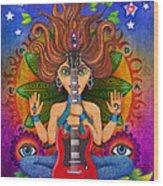 Guitar Goddess Wood Print