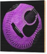 Guitar Grape Baseball Square Wood Print