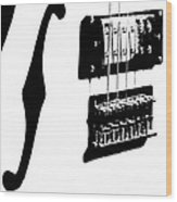 Guitar Graphic In Black And White  Wood Print