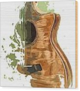 Guitar Green Background 4 Wood Print