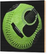 Guitar Keylime Baseball Square  Wood Print