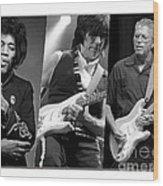 Guitar Legends Jimi Hendrix Jeff Beck And Eric Clapton Wood Print