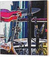 10261 Seasick Steve's Guitar On Drum Wood Print