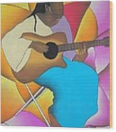 Guitar Player Wood Print by Sonya Walker