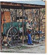 Guitar Playin Cowboy Wood Print