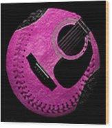 Guitar Raspberry Baseball Wood Print