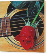 Guitar With Single Red Rose Wood Print