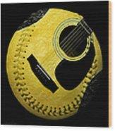 Guitar Yellow Baseball Square Wood Print