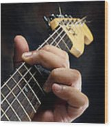 Guitarist Playing Guitar Wood Print by William Voon
