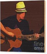 Guitarist Wood Print by Soumya Bouchachi