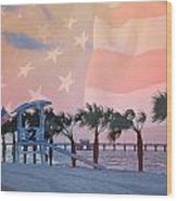 Gulf Shores Beach With Flag Wood Print