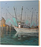 Gulf Shrimpers Wood Print