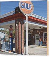 Gulf Station Sign Wood Print