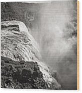 Gullfoss Iceland In Black And White Wood Print