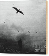 Gulls Over Towers Wood Print