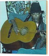 Gully Guitar And Black Hat  Wood Print
