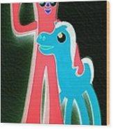 Gumby And Pokey B F F Negative Wood Print
