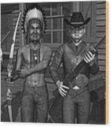 Gunfight At The Okey Dokey Corral - Black And White Wood Print
