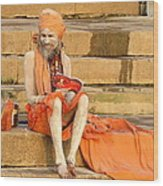 Guru On Ganges Wood Print