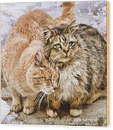 Gutter Kitties Five Wood Print