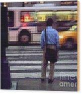 Crossing The Street - Traffic Wood Print