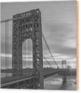 Gw Bridge Le Wide Crop Bw Wood Print