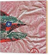 Gyotaku- 4th July - Spanish Mackerel- Bubble Gum Pink Wood Print by Jeffrey Canha