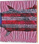Gyotaku - American Spanish Mackerel - Flag Wood Print