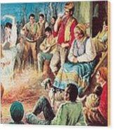 Gypsies Partying Wood Print