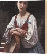 Gypsy Girl With A Basque Drum Wood Print