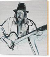 Gypsy Guitarist Wood Print