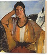 Gypsy With A Cigarette Wood Print