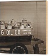 H And G Oil Company In Sepia Wood Print