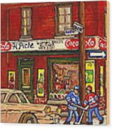 H. Piche Grocery - Goosevillage -paintings Of Montreal History- Neighborhood Boys Play Street Hockey Wood Print