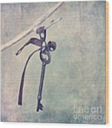 Key With A Ribbon Wood Print