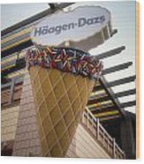 Haagen Dazs Ice Cream Signage Downtown Disneyland 01 Wood Print