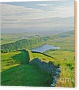 Hadrians Wall And Crag Lough Wood Print