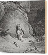 Hagar And Ishmael In The Desert Wood Print