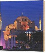 Hagia Sophia At Night Istanbul Turkey  Wood Print