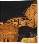Hagia Sophia At Night Wood Print