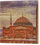 Hagia Sophia Digital Painting Wood Print