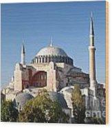 Hagia Sophia Mosque Landmark In Instanbul Turkey Wood Print